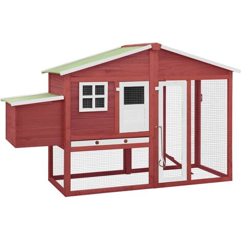 Chicken Coop with Nest Box Red and White Solid Fir Wood
