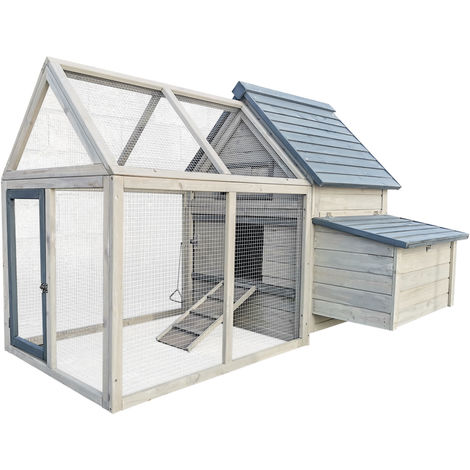 Chicken Coop with Nesting Box & Slide-Out Tray made of White & Brown painted Wood 166x118.5x112cm