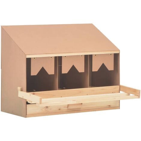 Chicken Laying Nest 3 Compartments 72x33x54 cm Solid Pine Wood