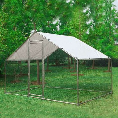 Chicken Run Cage 3X2X2M CRC01 Metal Hammered Silver