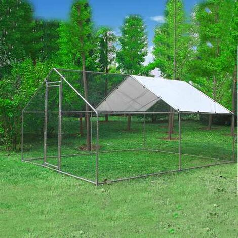 Chicken Run Cage 3X4X2M CRC02 Metal Hammered Silver