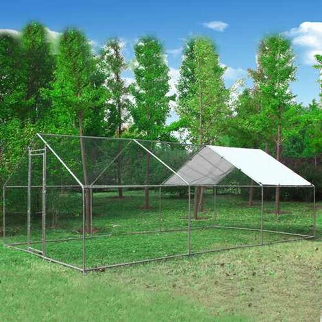 Chicken Run Cage 3X6X2M CRC03 Metal Hammered Silver