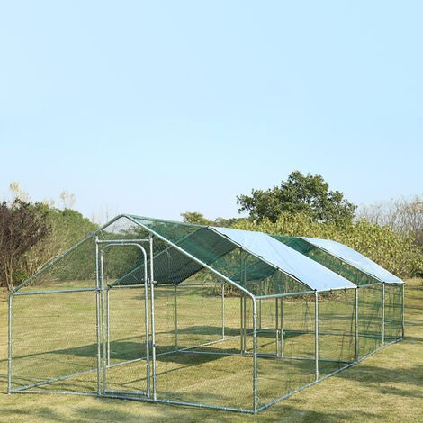 Chicken Run Rabbit Ducks Poultry Cage Iron Tube Coop With Gate