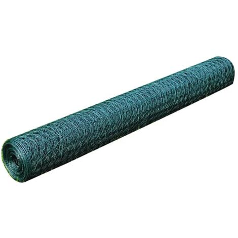 Chicken Wire Fence Galvanised with PVC Coating 25x0.5 m Green