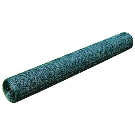 Chicken Wire Fence Galvanised with PVC Coating 25x1 m Green
