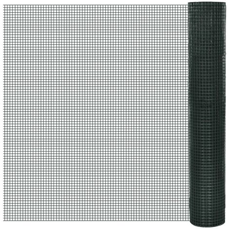 Chicken Wire Fence Galvanised with PVC Coating 25x1 m Green - Green