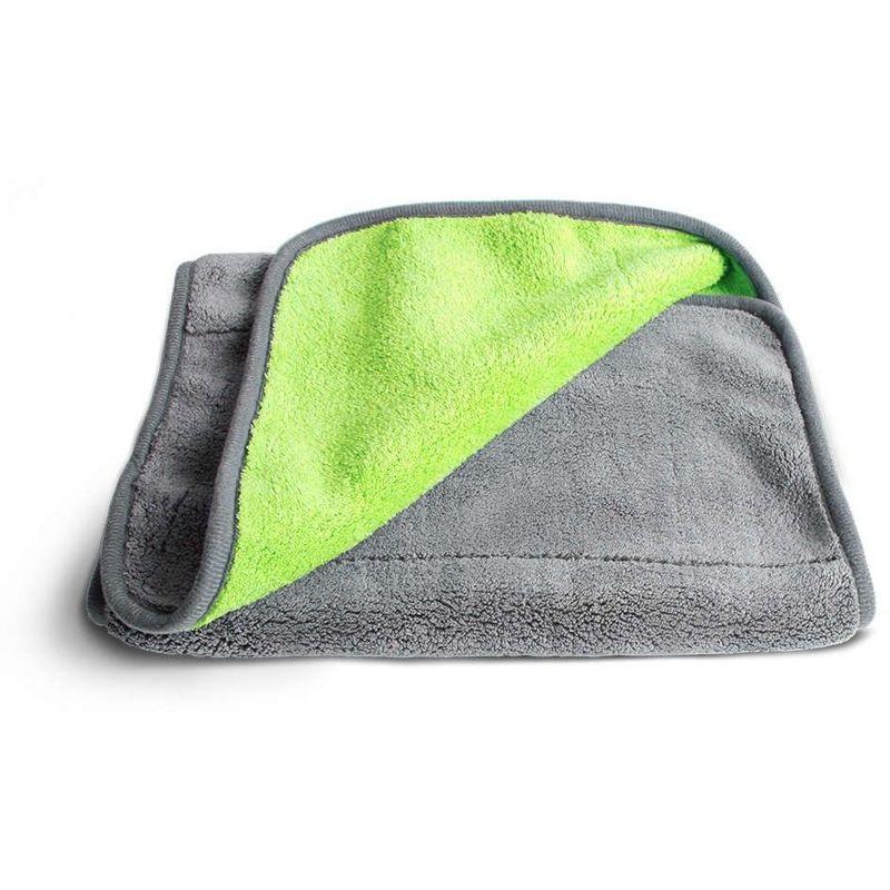 Chiffon microfibre XXL pour entretien de la voiture, intérieur et extérieur, anthracite/vert, 30x70 cm - Gris - Gris