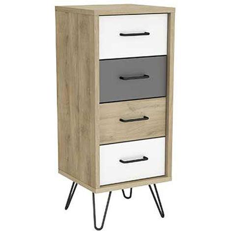 Chiffonnier 4 tiroirs en panneaux de particules, chene kronberg/blanc/gris - Dim : 41,6 x 100,7 x 39,7 cm -PEGANE-