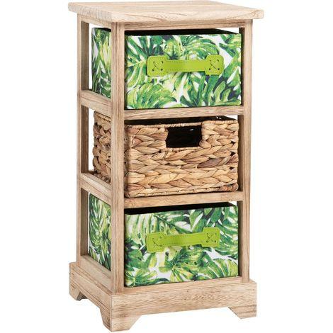 Chiffonnier ADELFIA petite étagère rangement avec 2 tiroirs feuilles tropicales et 1 panier tressé, en bois de paulownia déco jungle