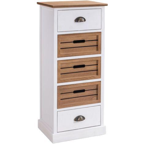 Chiffonnier CORNELIA commode avec 2 tiroirs et 3 caisses de rangement, en bois de paulownia blanc et brun style maison de campagne