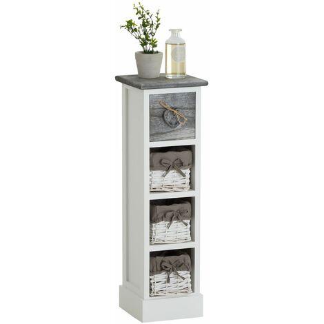 Chiffonnier FLOWER petit meuble avec 1 tiroir et 3 paniers étagère en bois de paulownia blanc et gris style shabby chic