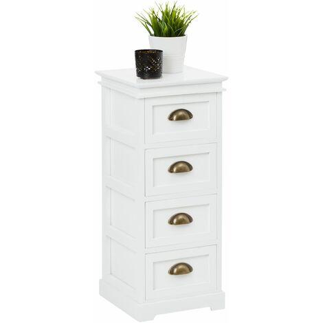 Chiffonnier LANDHAUS commode 4 tiroirs en bois de paulownia style shabby chic vintage classique blanc