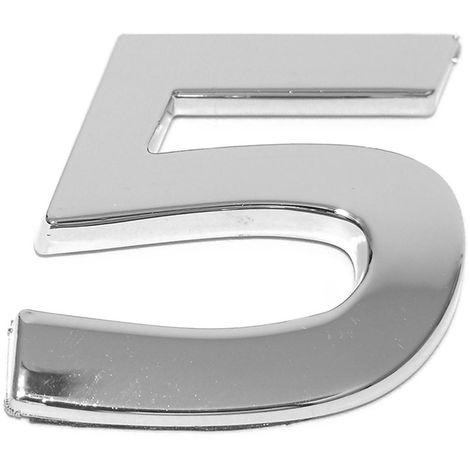 Chiffre ''5'' 3d Autocollant Chromé Eufab