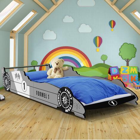 Child Car bed frame for children Kids Single Junior beds Silver 3x7.5ft Bedroom