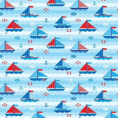 Child Sailors Bedruckter Teppich - fuer Kinder - Wohnkultur - Rutschfest - aus Wohnzimmer, Lounge, Zimmer - Mehrfarbig aus Polyester, Baumwolle, 80 x 150 cm
