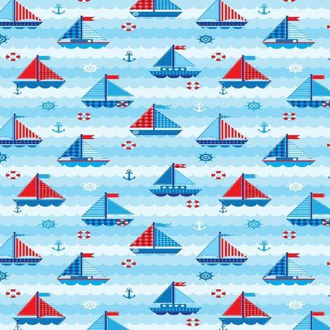 Child Sailors Bedruckter Teppich - fuer Kinder - Wohnkultur - Rutschfest - aus Wohnzimmer, Lounge, Zimmer - Mehrfarbig aus Polyester, Baumwolle, 80 x 200 cm