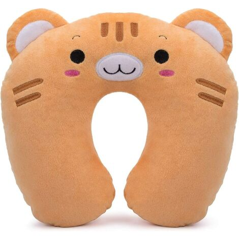 Child Travel Cushion in PP Cotton Plush Travel Pillow Head / Neck Perfect Support Airplane Car TGV Home - Yellow Tiger