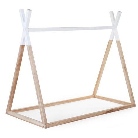 CHILDHOME Marco de cama Tipi 70x140cm madera natural/blanco B14TIPI - Marrón