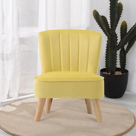 """main image of """"Children Kids Armchair Shell Back Velvet Upholstered Sofa Chair Yellow"""""""