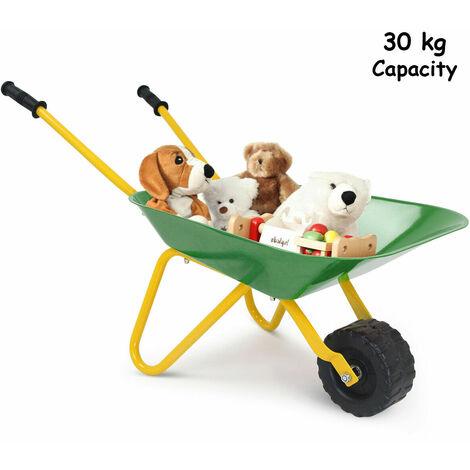 Children Kids Metal Cart Wheelbarrow Brick Toy Soil Puncture Garden Trolley Game Green