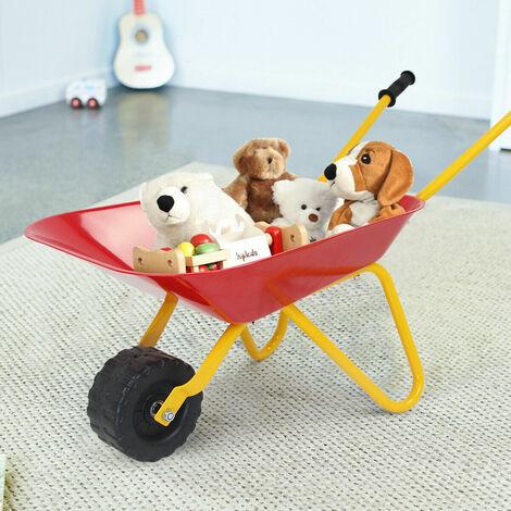 Children Kids Metal Cart Wheelbarrow Brick Toy Soil Puncture Garden Trolley Game Red