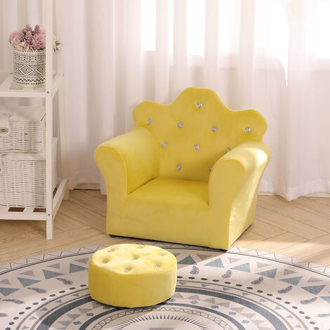 Children Kids Sofa Set Leather Upholstered Armchair Tub Chair & Footstool