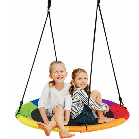 Children Nest Swing Padded Seat Set Hanging Tree Crows Seat Heights Adjustable