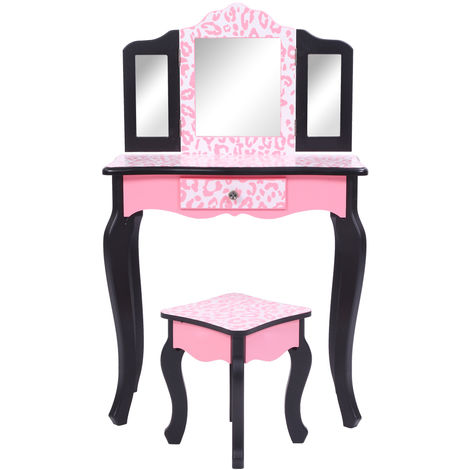 Children Vanity Table Set Kids Dressing Table & Stool Beauty Mirror & Drawer 98 x 60 x 28 cm