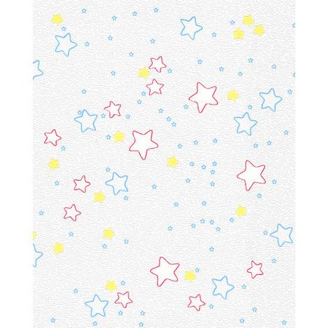 Children wallpaper wall EDEM 85033BR30 wallpaper slightly textured stars design subtly shimmering white cerise red blue yellow 5.33 m2 (57 ft2)