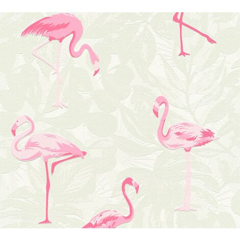 Children wallpaper wall Profhome 359801-GU non-woven wallpaper slightly textured with animal pattern matt pink chrome green white 5.33 m2 (57 ft2)