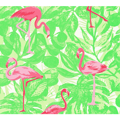 Children wallpaper wall Profhome 359802-GU non-woven wallpaper slightly textured with animal pattern matt pink green 5.33 m2 (57 ft2)