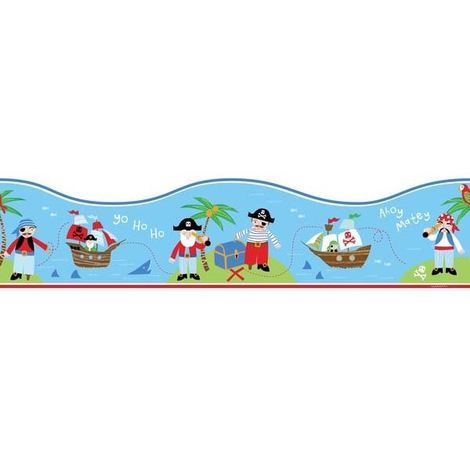 Childrens Bedroom Pirate Boat Sea Themed Wallpaper Border Blue Red Green