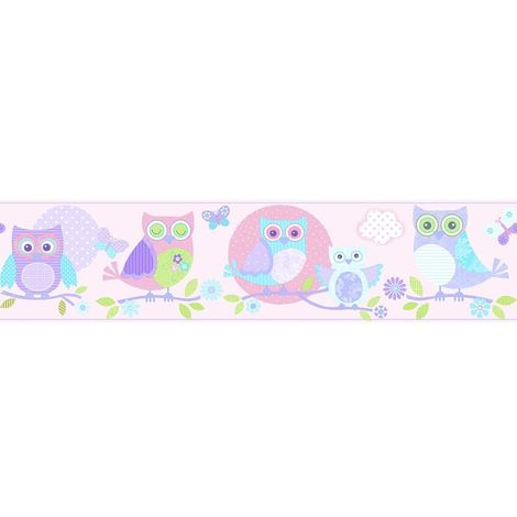 Children's Bird Print Wallpaper Border Butterfly Pink Lilac Paste Wall Galerie