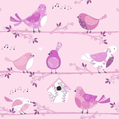 Children's Birds Floral Wallpaper Pink Musical Notes Girls Paste Wall Galerie