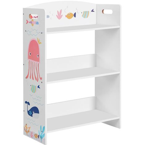 Children's Bookcase with 3 Shelves, Kid's Bookshelf, for Children's Room, Playroom, for Books and Toys, White GKRS03WT