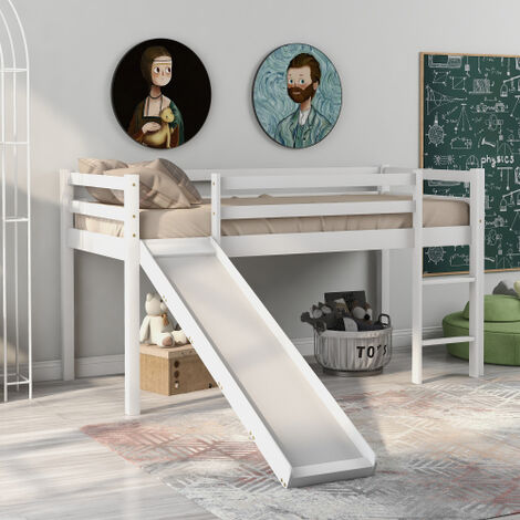 Children's Cabin Bed Frame with Slide & Ladder, Bunk Bed for Kids with Adjustable Ladder and Slide (White, 190x90cm)