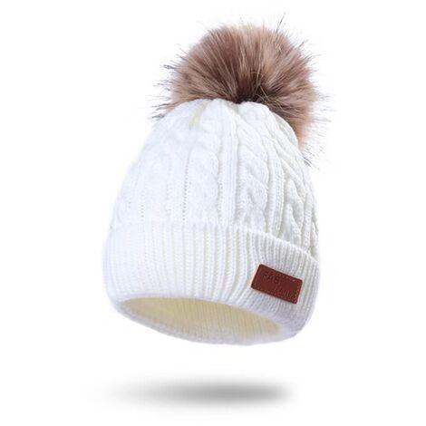 Children's Cabinet Winter Winter Wool Wool Bonnet For Kids In Winter Outdoor Hot White Hat