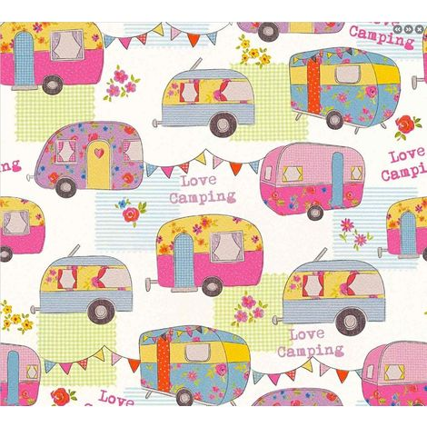 Children's Camper Van Caravan Wallpaper Pink White Bunting Floral AS Creation