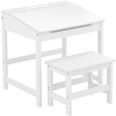 Children's Desk and Stool,MDF,White