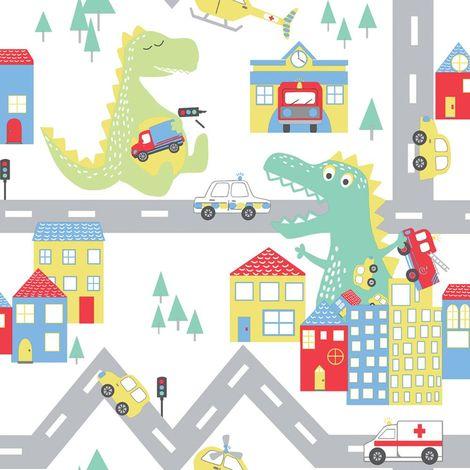Children's Dino Road Wallpaper White Nursery Kids Cars Dinosaurs Holden Decor