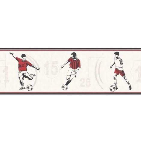 Childrens Football Wallpaper Border Sports Red Black Off White Boys Soccer