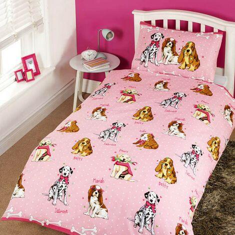 Childrens Girls Glamour Dogs Design Single Duvet/Bedding Set (Single Bed) (Pink)