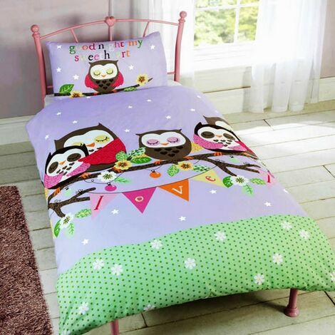 Childrens Girls Sleeping Owls Design Single Duvet/Bedding Set (Single Bed) (Multicoloured)