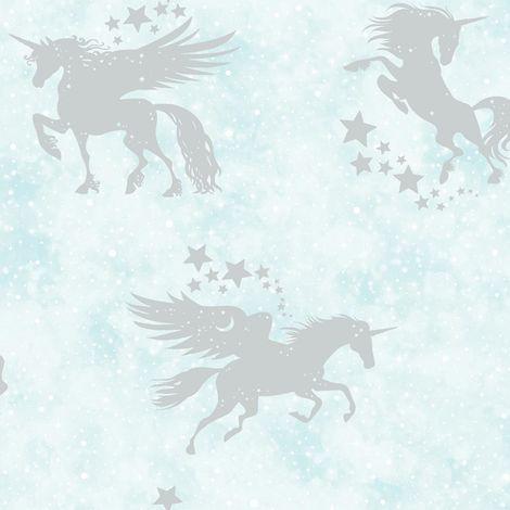 Children's Iridescent Unicorn Wallpaper Metallic Teal Silver Stars Holden Decor