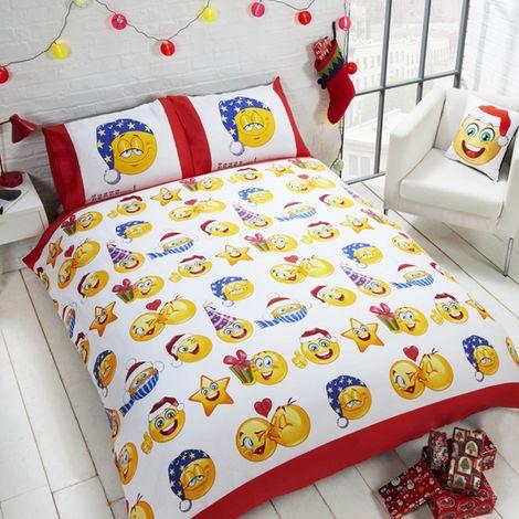 Childrens/Kids Christmas Emoji Design Reversible Duvet Cover Bedding Set (Double) (Multicoloured)