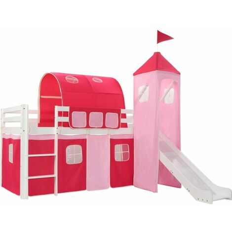 Children's Loft Bed Frame with Slide Ladder Pinewood 208x230 cm - Pink