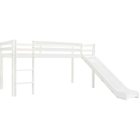 Children's Loft Bed Frame with Slide & Ladder Pinewood 97x208 cm