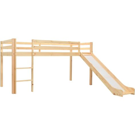Children's Loft Bed Frame with Slide & Ladder Pinewood 97x208 cm - Brown