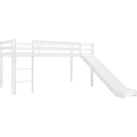 Children's Loft Bed Frame with Slide & Ladder Pinewood 97x208 cm - White