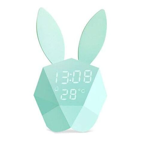 """main image of """"Children's Night Light Bunny Rabbit Lamp Bedside Table Night Lamp Warm White with Alarm Clock Function LED Voice Activated for Children Girls"""""""
